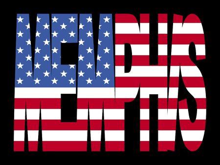 Memphis la superposición de texto con la ilustración bandera de Estados Unidos Foto de archivo - 2376142