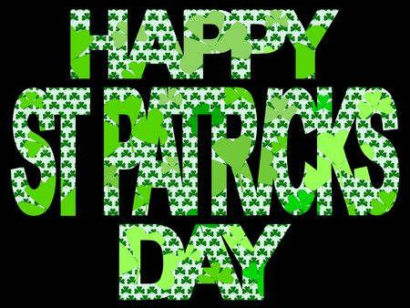 st  patricks' day: Happy St Patricks day with many shamrocks illustration Stock Photo