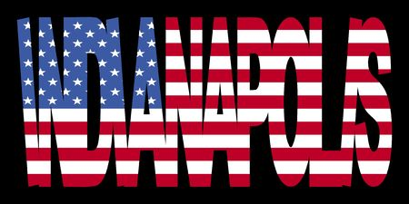 indianapolis: overlapping Indianapolis text with American flag illustration