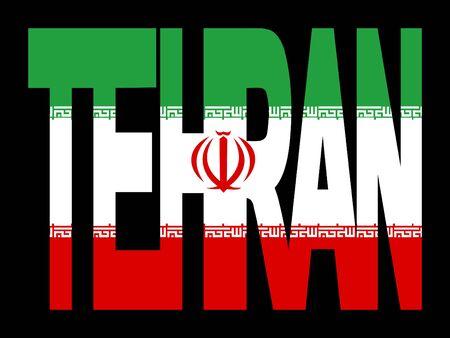 Teherán superposición de texto con bandera iraní ilustración  Foto de archivo - 2388051