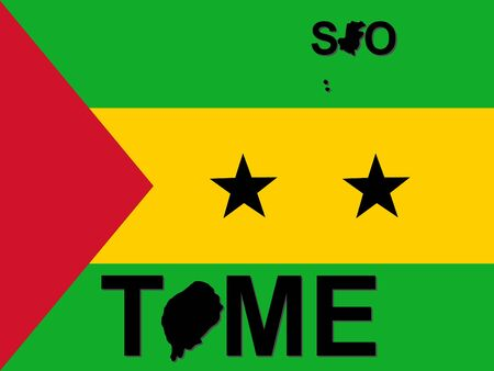 tome: Sao Tome text with map on flag illustration