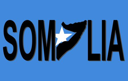 somalian: Somalia text with map on flag illustration
