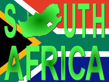 south african flag: South Africa text with map on flag illustration Stock Photo