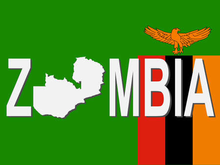 zambia: Zambia text with map on flag illustration Stock Photo