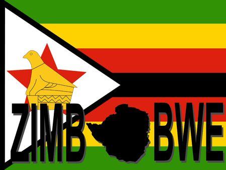 zimbabwe: Zimbabwe text with map on flag illustration Stock Photo