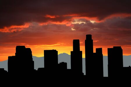 angeles: Los Angeles skyline with mountains at sunset