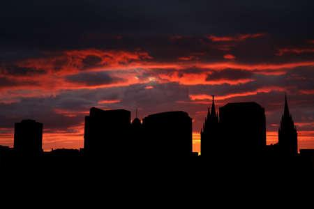 tabernacle: Salt Lake city at sunset with beautiful sky