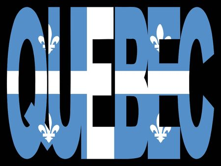 quebec: overlapping Quebec text with their flag illustration Stock Photo