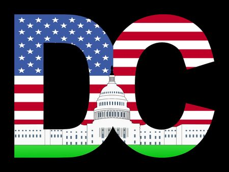 capitol: DC text frame with Capitol building and American flag