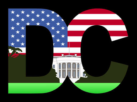 DC text frame with White House and American flag Stock Photo - 2392509