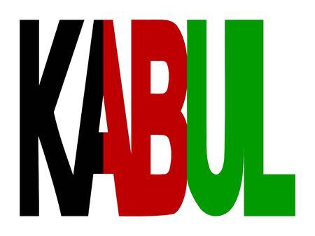 afghan: overlapping kabul text with Afghan flag illustration
