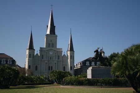 statue and St Louis Cathedral Jackson Square New Orleans photo