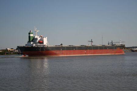 mississippi river: empty oil tanker on Mississippi River Stock Photo