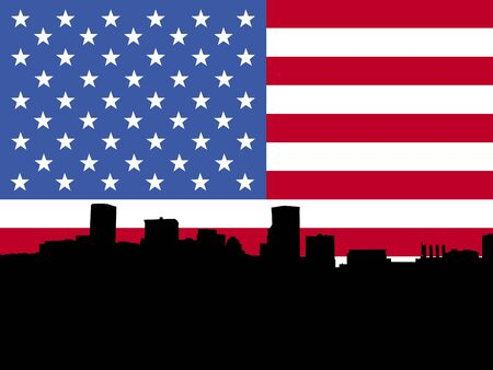 baltimore: Baltimore Inner Harbor with American flag illustration