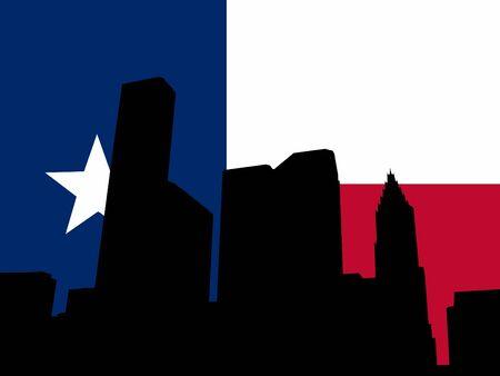 houston flag: Houston skyline with Texan flag illustration