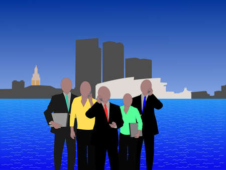 Bayside Miami skyline with business team illustration Stock Photo
