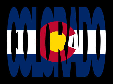 colorado flag: overlapping Colorado text with their flag illustration