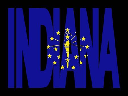 indiana: overlapping Indiana text with their flag illustration