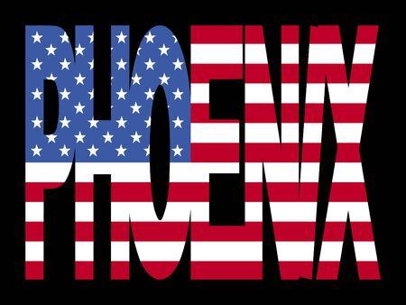 Phoenix superposición de texto con bandera americana ilustración Foto de archivo - 2403994