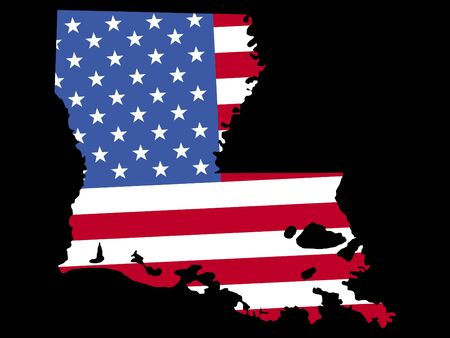 Map of the State of Louisiana and American flag photo