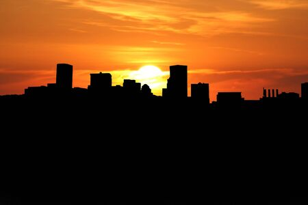baltimore: Baltimore Inner Harbor at sunset with beautiful sky Stock Photo