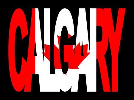 Calgary superposición de texto con bandera canadiense en la ilustración Foto de archivo - 2429343