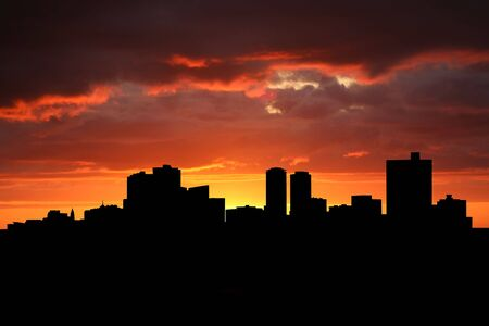 Fort Worth skyline at sunset with beautiful sky photo