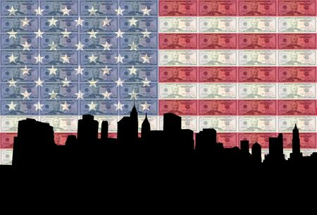 fifty dollar bill: Lower Manhattan skyline with American flag and fifty dollar bill  Stock Photo