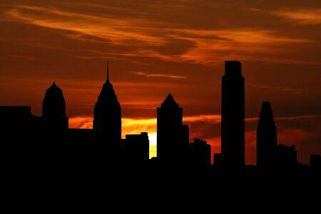 philadelphia: Philadelphia skyline at sunset with beautiful sky