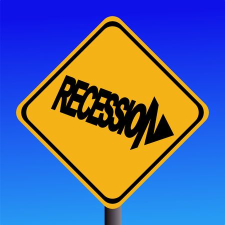 Recession warning sign on blue sky illustration Stock Illustration - 2429347
