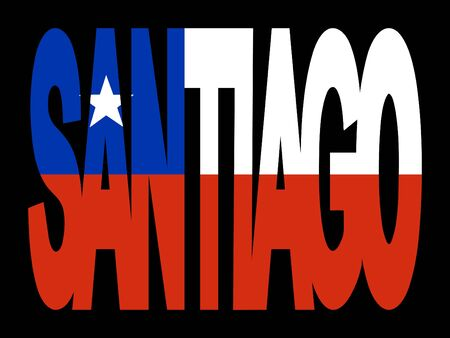 santiago: overlapping Santiago text with Chilean flag illustration Stock Photo