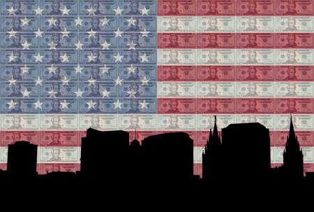 tabernacle: Salt Lake city skyline with American flag and twenty dollar bill Stock Photo