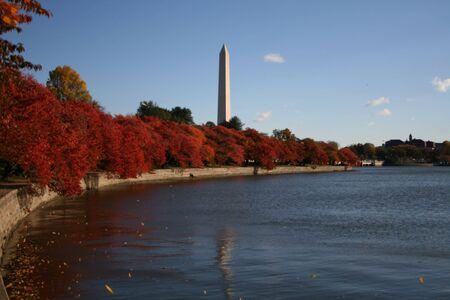Washington Monument and tidal pool in autumn Washington DC