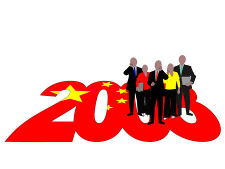 Business team on 2008 text with Chinese flag photo