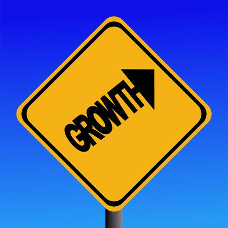 point of interest: Growth warning sign on blue sky illustration