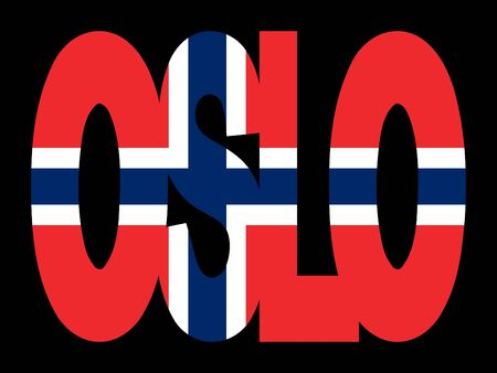 norwegian flag: overlapping Oslo text with Norwegian flag illustration Stock Photo