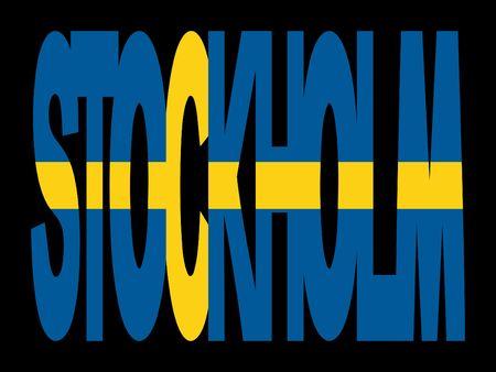 Estocolmo superposición de texto con bandera sueca ilustración Foto de archivo - 2448673