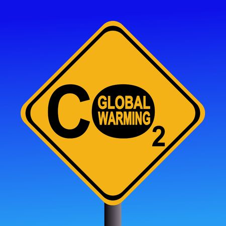 emissions: warning Global warming CO2 emissions sign illustration