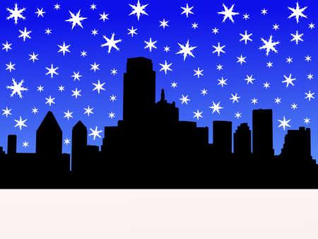 Dallas Skyline in winter with falling snow illustration Stock Illustration - 2448697