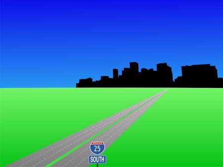 denver: interstate 25 leading to Denver skyline illustration