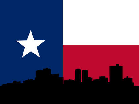 Fort Worth skyline with texan flag illustration illustration