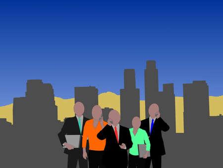 Los Angeles skyline with business team illustration illustration