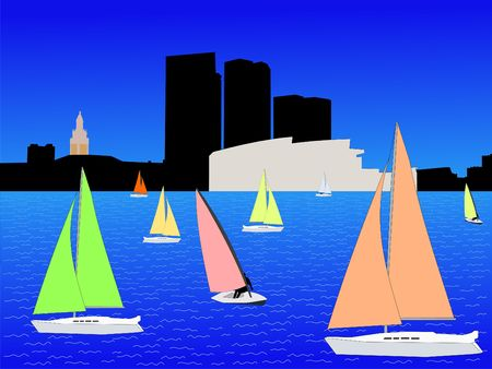 Bayside Miami skyline and yachts with colorful sails illustration Stock Photo