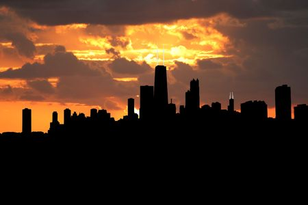 the sears tower: Chicago Skyline at sunset with beautiful sky