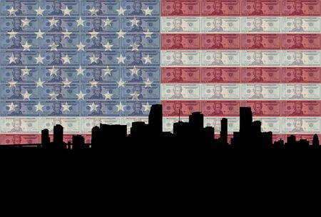 greenbacks: Miami skyline with American flag and twenty dollar bills