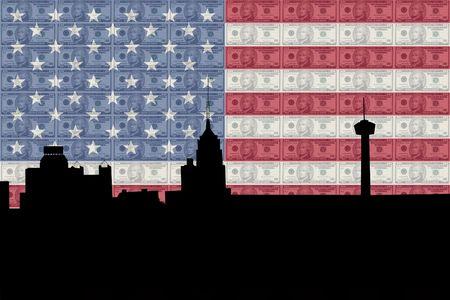 greenback: San Antonio skyline with American flag and ten dollar bills