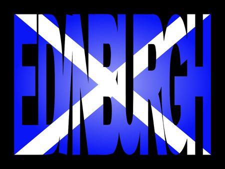 Edimburgo, la superposición de texto con bandera de la ilustración escocesa Foto de archivo - 2466163