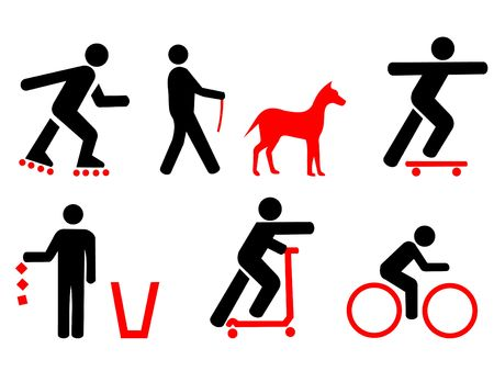 botar basura: Park Reglamento no patines, bicicletas, scooters, no tirar basura, no los perros fuera de plomo