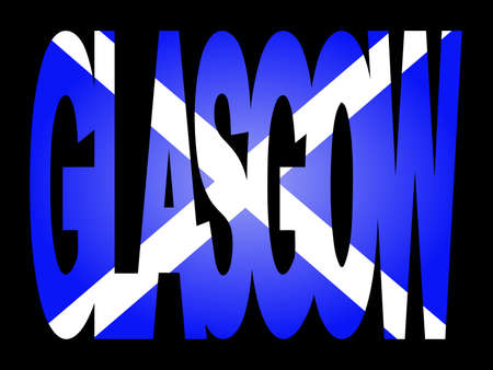 glasgow: overlapping Glasgow text with Scottish flag illustration