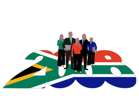 Business team on 2008 text with South African flag photo